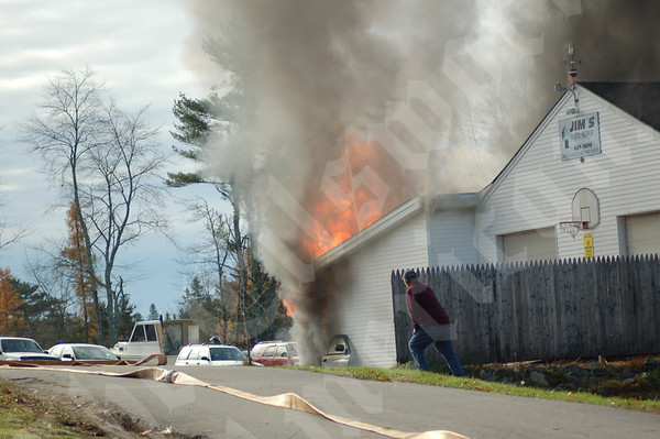 Fire at Jim's Auto Body in Ellsworth; October 29, 2010