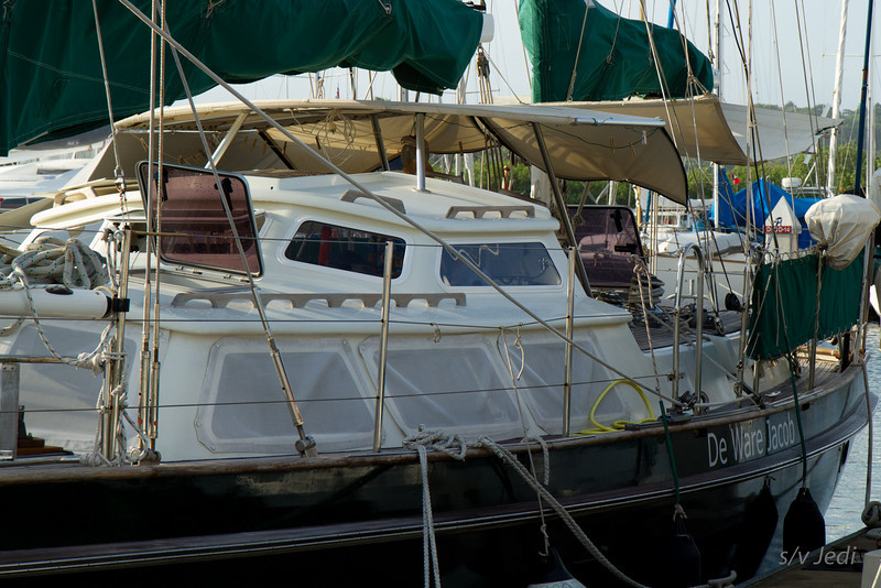 """In the marina.<br /> We had a Dutch night aboard """"De Ware Jacob"""" yesterday with two other Dutch couples."""