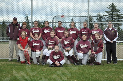 Members of the George Stevens Academy Eagle girls include (front) Amber Gray, (kneeling) Stevie Theoharidis, Lydia Clapp, Stephi Davis, Mindy Carter, Abby Nowland and Katie Gray; and (rear, from left) assistant coach Norris Wessel, Taylor Higgins, Anna Clapp, Emily Lowell, Hannah Billings, Richelle Kane, Sabrina Vivian, Shelbi Candage and coach Betsy Stevens.