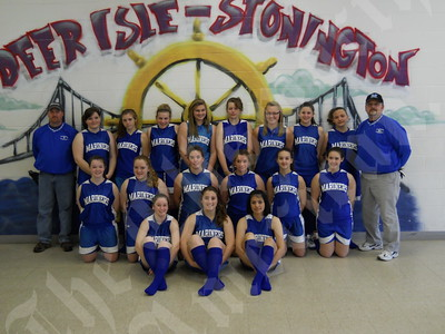 Members of the Deer Isle-Stonington Mariner girls include (sitting) Hannah Siebert, Erika Hutchins and Goldie Garcia; (kneeling) Michala Brown, Abigail Grindle, Sarah Boutilier, Julie Hutchins, Haley Brewer and Sydney Ouzts; and (standing, from left) assistant coach Joel Scott, Moriah Nutter, Emily Cormier, Chelsea Brown, Amber Jones, Shiann Colsson, Britnie Jones, Janelle Ciomei, Abbigail Bray and coach Terry Siebert. Absent from photo: Heide Brewer, Holly Brewer and Tegan McGuire.