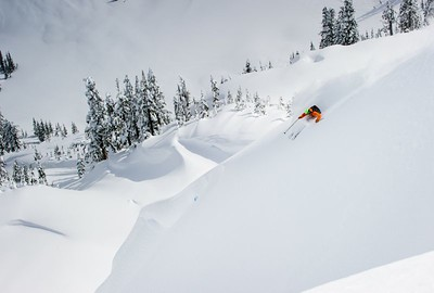 Skiing in the backcountry with Forrest Coots nearby Mount Baker Ski Area, WA