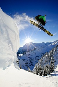 Adam Roberts skiing up in the backcountry nearby Mount Baker Ski Area