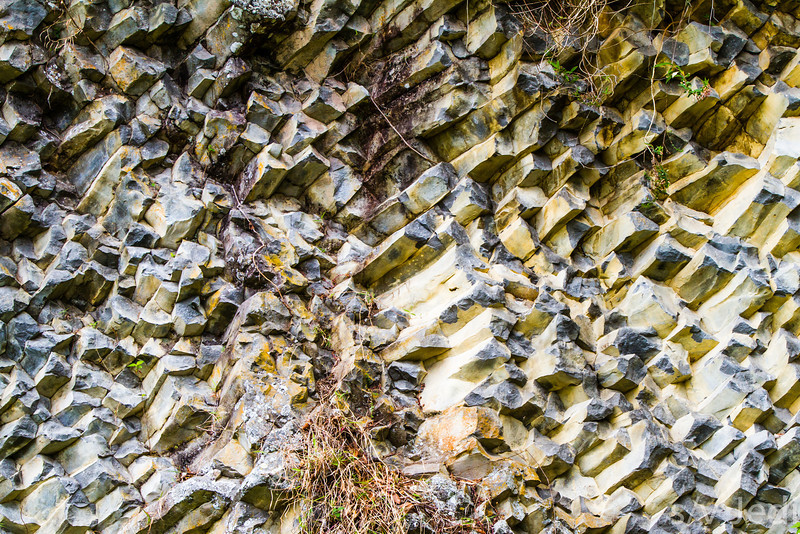 Colorored rock wall - Crystal-like rock formations