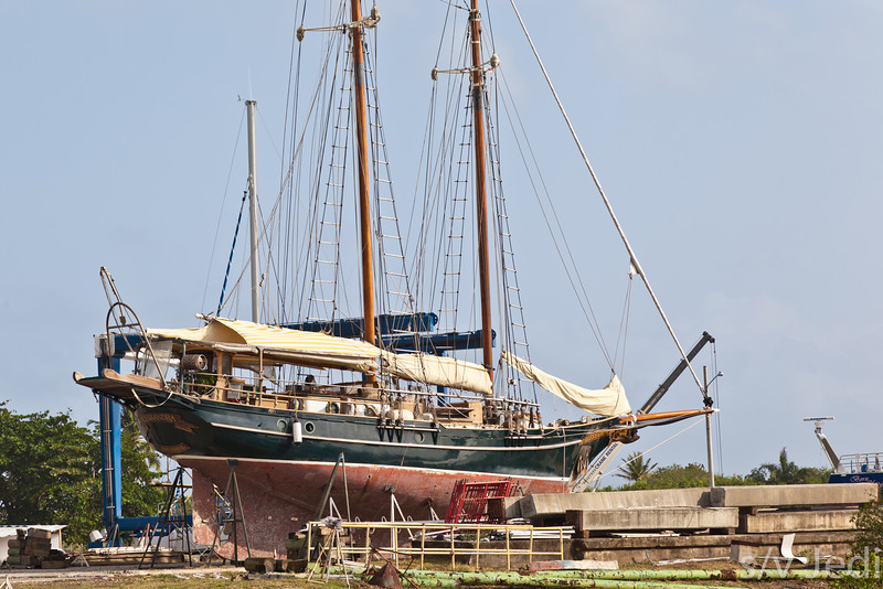 Traditional sailboat during haul-out.