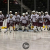 The South St Paul girls hockey team gets ready to face New Ulm high school in the quarterfinals of the 2012 Minnesota State High School Girls Hockey Championships against New Ulm High School at the Xcel Energy Center in St. Paul, Minnesota. The Packers won the game 12-1.