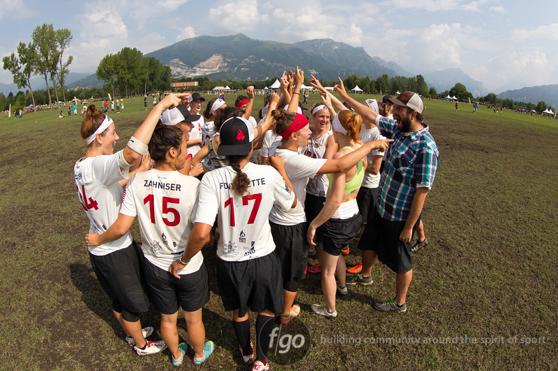 USA Riot v Japan HUCK Women's Division game on Thursday at WFDF 2014 World Ultimate Club Championships in Lecco, Italy