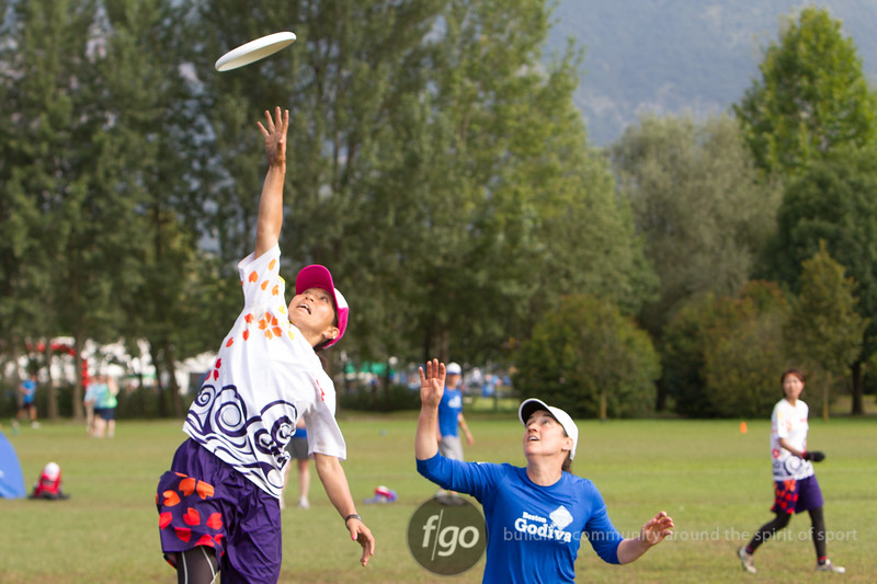 USA Godiva v Japan Sanz Women's Masters Division at WFDF 2014 World Ultimate Club Championships in Lecco, Italy