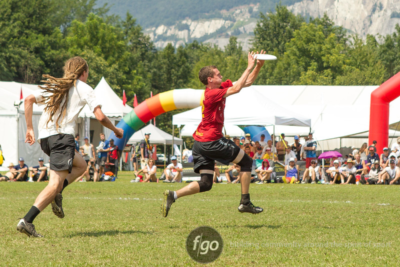 USA Revolver v USA Johnny Bravo Open Division semi-final game on Friday at WFDF 2014 World Ultimate Club Championships in Lecco, Italy