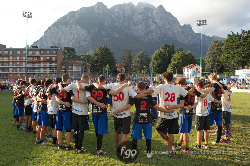 USA Revolver v USA Sockeye Open Division championship game on Saturday at WFDF 2014 World Ultimate Club Championships in Lecco, Italy