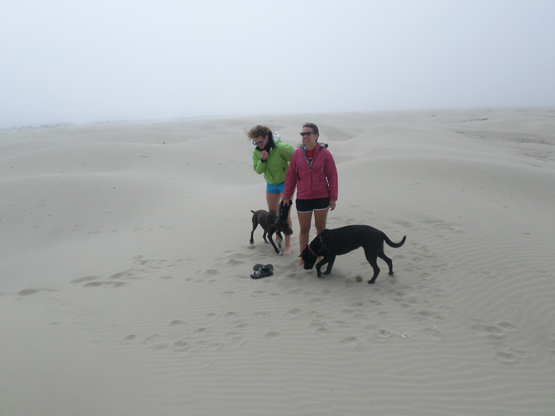 Maddy, Allyn, Nala, and Luna (Chad's dog) at Yaquina Bay State Park on a windy summer day