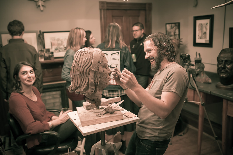 Jamie Lester, in his happy place, sculpting space..