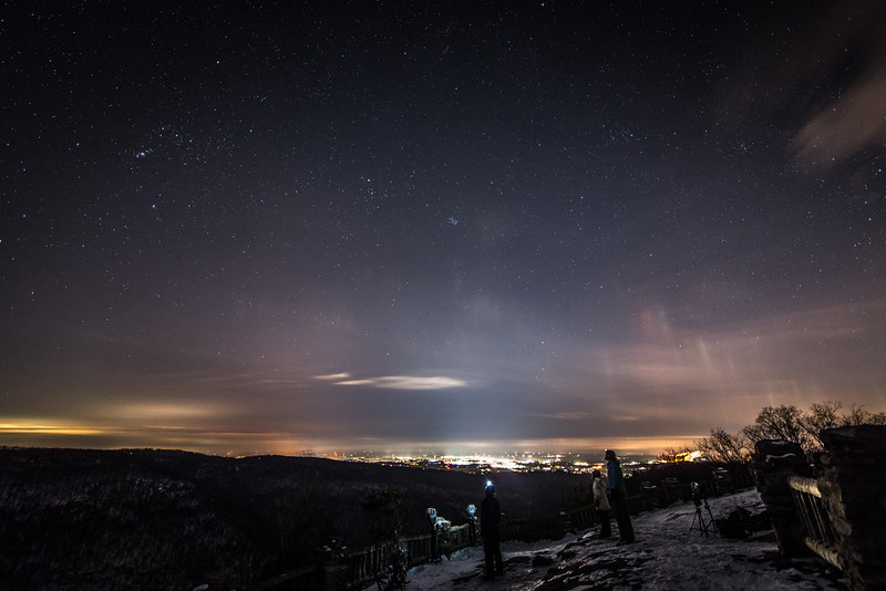 Coopers; Rocks; Cross; Country; Skiing; Light Pillars; Winter; West Virginia; photo by Gabe DeWitt; February; 2015; 131; Anna Withrow; Aurora; Coopers Rocks; Coopers Rocks Foundation; Cross Country Skiing; Dennis Lees; Favorite things; Ice Crystals; Light Pillars; Lights; Morgantown; People; Places; West Virginia; friends; friends of adventure; night photography; space; stars; time lapse