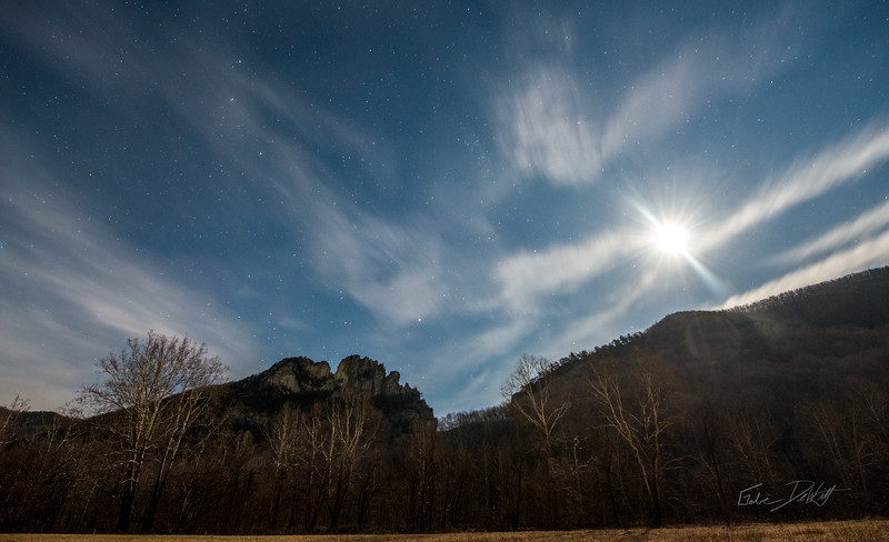 Moonlight over Seneca Rocks