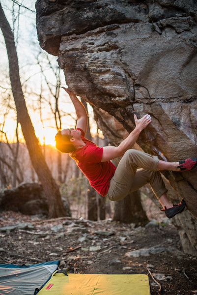 climbing season, Bouldering; Pioneer; Rocks; West; Virginia; photo; Gabe; DeWitt; March; 2015; Brian Brotherton; Favorite things; Morgantown; People; Pioneer Rocks; Places; Sigma Art Lens 35 mm F1.4; West Virginia; bouldering; by Gabe DeWitt; climbers; climbing; rocks; space; sun; sunset