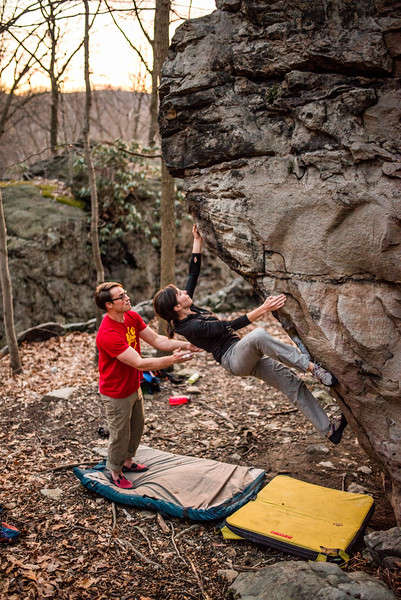 Bouldering; Pioneer; Rocks; West; Virginia; photo; Gabe; DeWitt; March; 2015; 132; Brian Brotherton; Favorite things; Morgantown; People; Pioneer Rocks; Places; Sigma Art Lens 35 mm F1.4; West Virginia; bouldering; by Gabe DeWitt; climbers; climbing; rocks; space; sun; sunset