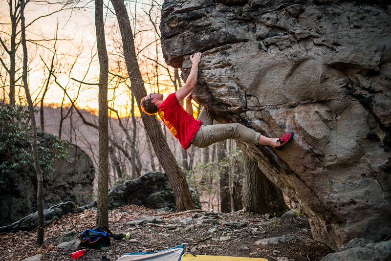 Bouldering; Pioneer; Rocks; West; Virginia; photo; Gabe; DeWitt; March; 2015; Brian Brotherton; Favorite things; Morgantown; People; Pioneer Rocks; Places; Sigma Art Lens 35 mm F1.4; West Virginia; bouldering; by Gabe DeWitt; climbers; climbing; rocks; space; sun; sunset