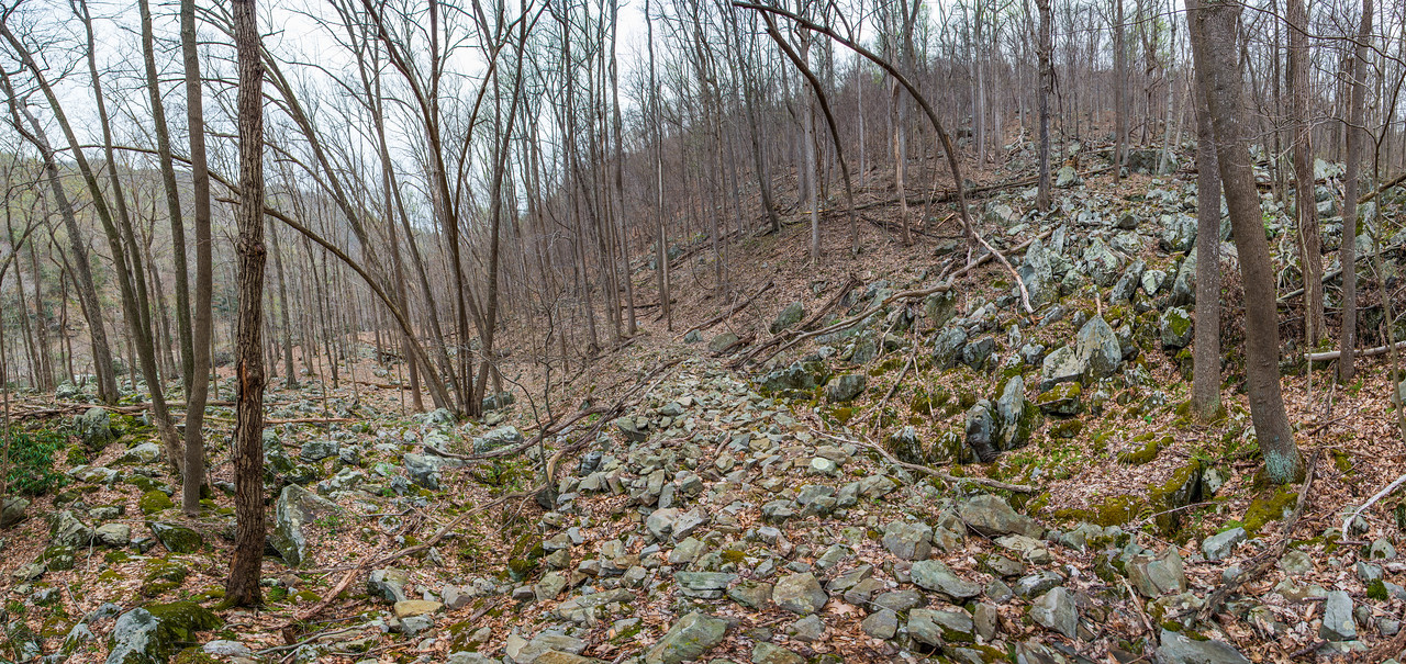 NCM15010; reduced; Allegheny Trail; Cheat River; DNR; Friends of the Cheat; Gabe DeWitt; TNC; The Nature Conservancy; The Nature Conservancy Magazine; West Virginia; photo by Gabe DeWitt; spring Views from the Allegheny trail. Amanda walking across the first rock bridge/butress