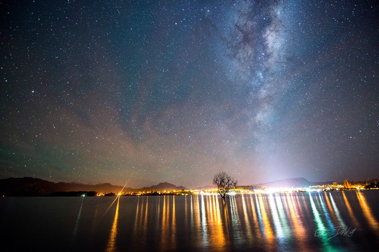 Lone; Tree; Milky; Way; Wanaka; New; Zealand; 20150519; 324; By Gabe DeWitt; Lone Tree; New Zealand; Night Photography; Sabatical; Wanaka; city; reflection; tree; water; www.1gabe.com night and low light