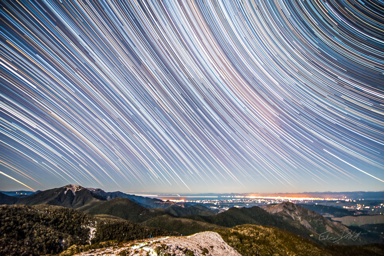 Arthur; Golden; Bay; Composite; By Gabe DeWitt; Long Exposure; Milky Way; Mt Arthur; Mt Arthur Hut; Mt Arthur track; New Zealand; Night Photography; Sabatical; Star trails; Stars; Time Lapse; www.1gabe.com night and low light