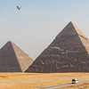 Pyramids, bird and bus