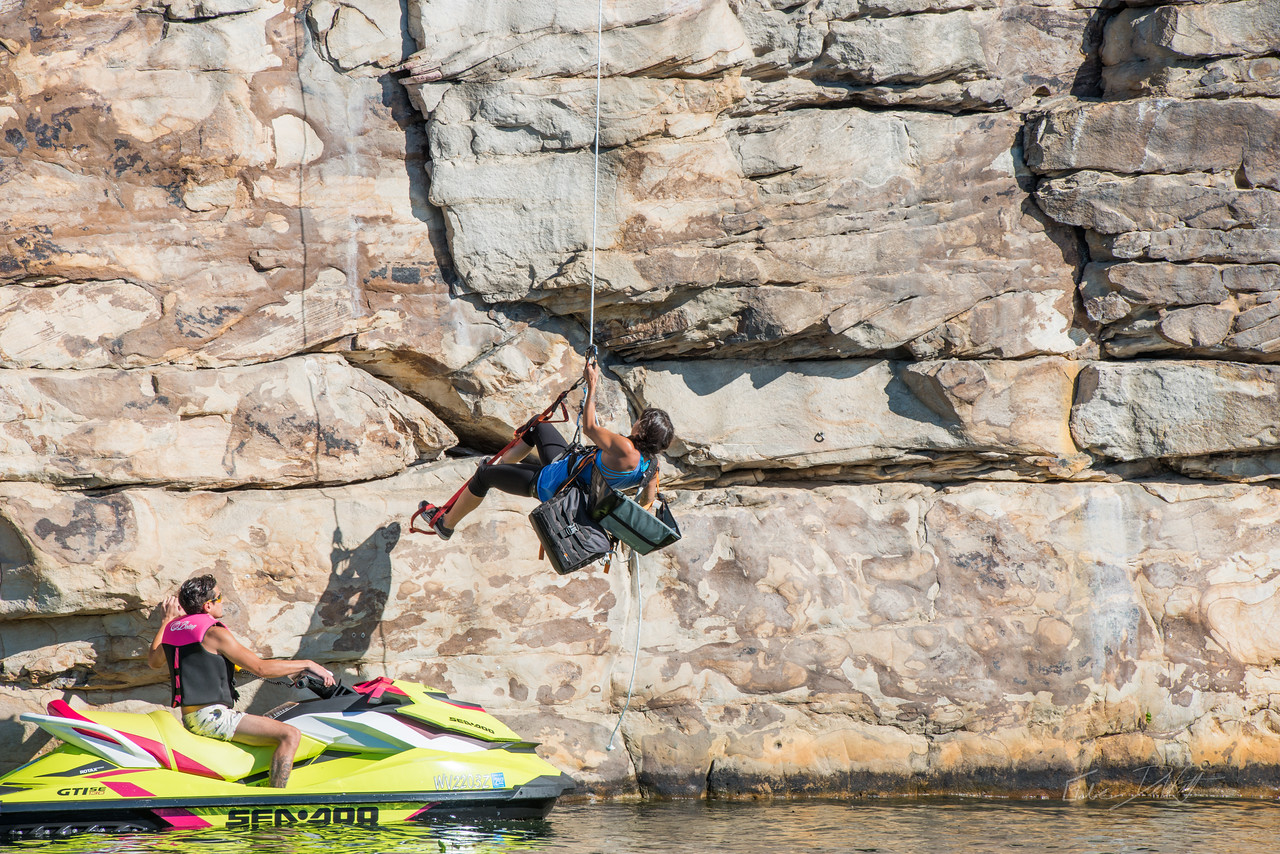 Deep; Water; Soloing; PSICOBLOC; 2016; Summersville; Lake; West; Virginia; Photo; Gabe; DeWitt; 229; DWS; Deep Water Soloing; Deepwater soloing; PSICOROC; Places; Psicocomp; Roks; Sand Stone; Summer; Tara Kerzhner; WV; West Virginia; climbing; photo by Gabe DeWitt; summersville lake