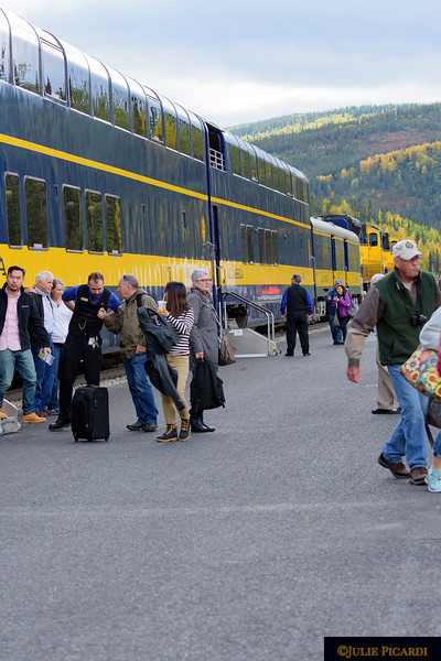 The Alaska Railroad services passengers from Anchorage to Fairbanks with a stop at the Denali Park Depot.