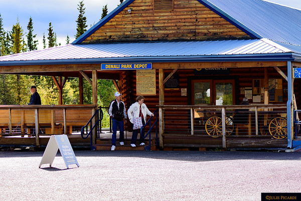 Reminiscent of older times, the Denali Park Depot is just steps away from the railroad.