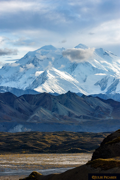 Mount Denali peak is often obscured by clouds. Luckily, the peak shows here.