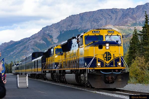 The Alaska Railroad arrives at the Denali Depot.