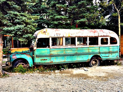 "Bus used in the movie ""Into The Wild"" on the 49th State Brewery and Restaurant Property"