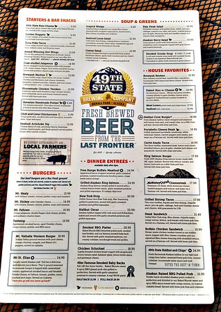 Menu of 49th State Brewery