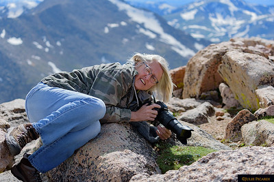 My fearless friend, Eivor,  photographing the pikas.