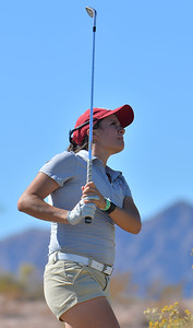 LAS VEGAS, NV - OCTOBER 22:  Kennedie Montoya of the New Mexico State Aggies watches her approach shot on the sixth hole during the 2017 Las Vegas Collegiate Showdown at the Boulder Creek Golf Course in Boulder City, Nevada.  (Photo by Sam Wasson)