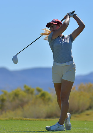LAS VEGAS, NV - OCTOBER 22:  Tiegan Taylor of the New Mexico State Aggies tees off on the sixth hole during the 2017 Las Vegas Collegiate Showdown at the Boulder Creek Golf Course in Boulder City, Nevada.  (Photo by Sam Wasson)
