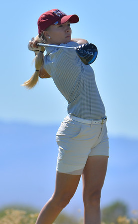 LAS VEGAS, NV - OCTOBER 22:  Dominique Galloway of the New Mexico State Aggies tees off on the seventh hole during the 2017 Las Vegas Collegiate Showdown at the Boulder Creek Golf Course in Boulder City, Nevada.  (Photo by Sam Wasson)