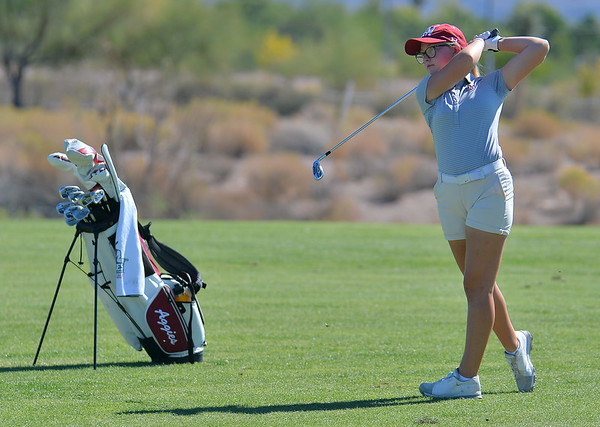 LAS VEGAS, NV - OCTOBER 22:  Tiegan Taylor of the New Mexico State Aggies hits an approach shot on the sixth hole during the 2017 Las Vegas Collegiate Showdown at the Boulder Creek Golf Course in Boulder City, Nevada.  (Photo by Sam Wasson)