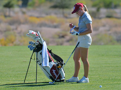 LAS VEGAS, NV - OCTOBER 22:  Tiegan Taylor of the New Mexico State Aggies checks her yardage book on the sixth hole during the 2017 Las Vegas Collegiate Showdown at the Boulder Creek Golf Course in Boulder City, Nevada.  (Photo by Sam Wasson)