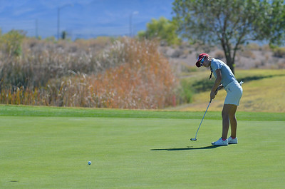 LAS VEGAS, NV - OCTOBER 22:  Maria Prado of the New Mexico State Aggies hits a putt on the sixth hole during the 2017 Las Vegas Collegiate Showdown at the Boulder Creek Golf Course in Boulder City, Nevada.  (Photo by Sam Wasson)