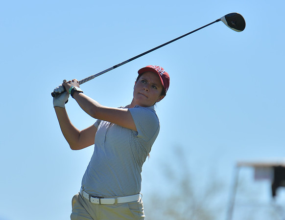 LAS VEGAS, NV - OCTOBER 22:  Kennedie Montoya of the New Mexico State Aggies tees off on the sixth hole during the 2017 Las Vegas Collegiate Showdown at the Boulder Creek Golf Course in Boulder City, Nevada.  (Photo by Sam Wasson)