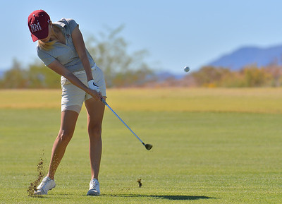 LAS VEGAS, NV - OCTOBER 22:  Dominique Galloway of the New Mexico State Aggies hits an approach shot on the sixth hole during the 2017 Las Vegas Collegiate Showdown at the Boulder Creek Golf Course in Boulder City, Nevada.  (Photo by Sam Wasson)