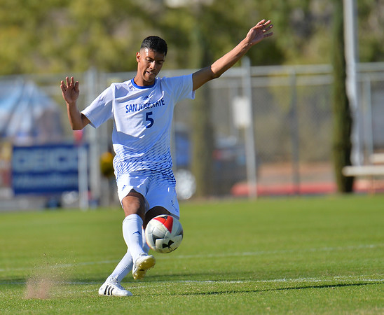 LAS VEGAS, NV - NOVEMBER 8:  First round match of the 2017 WAC Men's Soccer Tournament between the 4-seed San Jose State Spartans and the 5-seed UTRGV Vaqueros  at Peter Johann Memorial Field on November 8, 2017 in Las Vegas, Nevada.  (Photo by Sam Wasson/WAC)