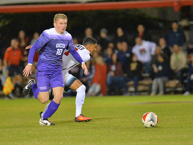 LAS VEGAS, NV - NOVEMBER 8:  First round match of the 2017 WAC Men's Soccer Tournament between the 2-seed UNLV Rebels and the 7-seed Grand Canyon Lopes at Peter Johann Memorial Field on November 8, 2017 in Las Vegas, Nevada.  (Photo by Sam Wasson/WAC)