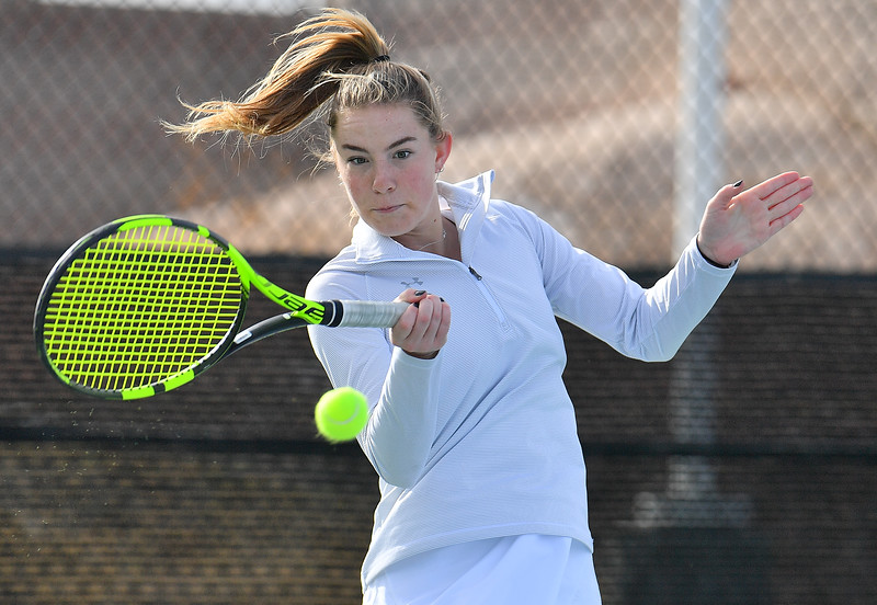 LAS VEGAS, NV - JANUARY 20:  Quinty Janssen of the New Mexico State Aggies plays a forehand during her match against Morgan Dickason of the Weber State Wildcats at the Frank and Vicki Fertitta Tennis Complex in Las Vegas, Nevada. Janssen won the match 4-6, 6-0, 6-3.
