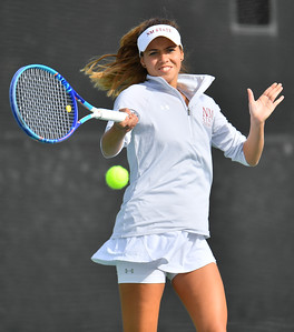 LAS VEGAS, NV - JANUARY 20:  Eli Arnaudova of the New Mexico State Aggies plays a forehand during her team's match against McKenna Lloyd of the Weber State Wildcats at the Frank and Vicki Fertitta Tennis Complex in Las Vegas, Nevada. Amaudova won the match 7-5, 6-2.