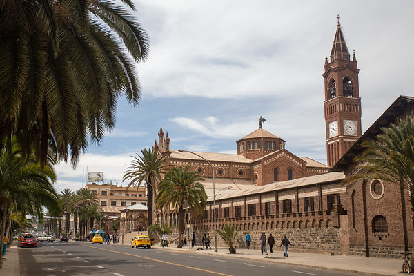 Catholic Cathedral on Harnet Ave in capital city Asmara in Eritrea.
