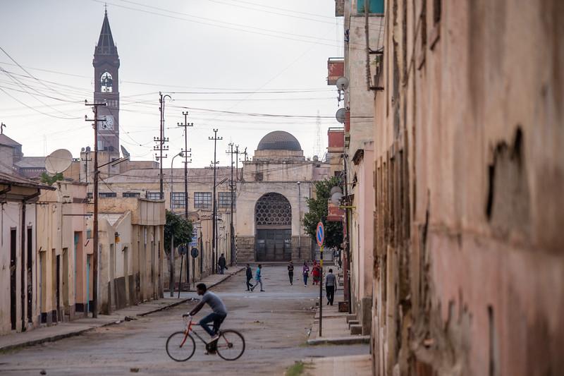 Italian Market and Catholic Cathedral in Asmara, Eritrea.