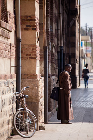 A Catholic priest leaving the cathedral in Asmara, Eritrea.