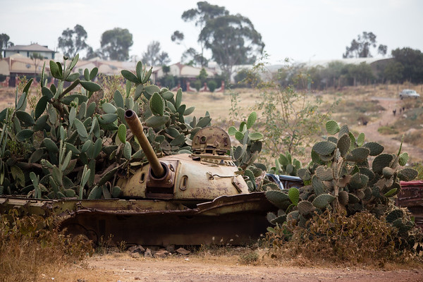 Rusting artillery at the tank graveyard on the outskirts of capital city Asmara in Eritrea.