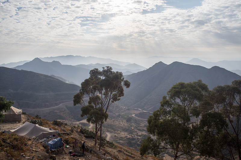 Campsite for workers on the highway between Asmara and Massawa in the mountains of Eritrea.