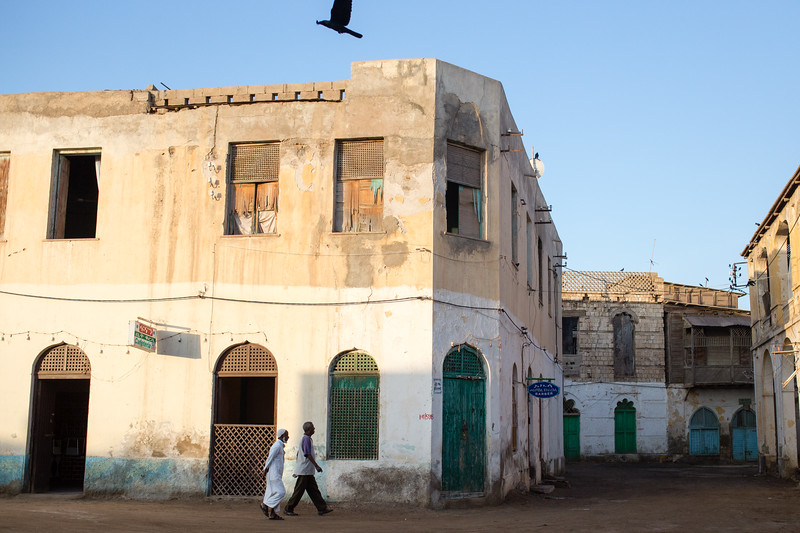Strolling among the ruins of the town of Massawa on the Red Sea coast of eastern Eritrea.